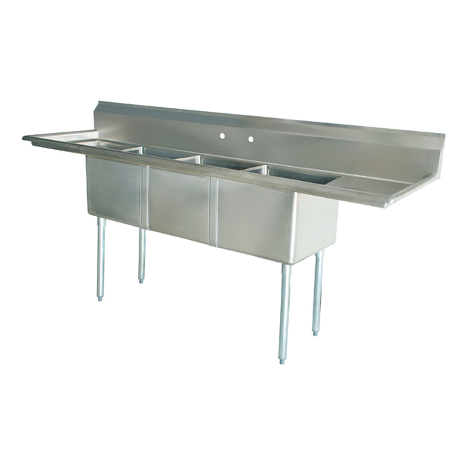 Atlantic Metalworks 3CS-162012-2 2 Drainboard 3 Bowl Sink