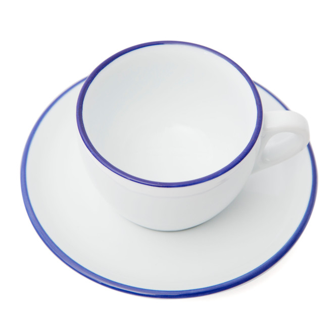 Ancap Verona Blue Painted-Rim Cups and Saucers
