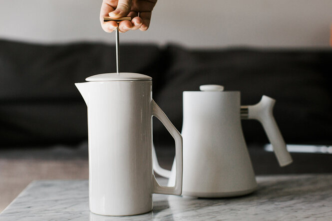 Yield French Press in White Ceramic