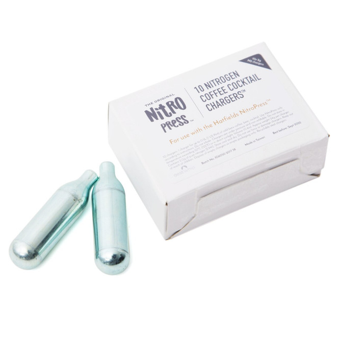 Box of Hatfields London nitrogen cartridges for the NitroPress with 2 out of the box.