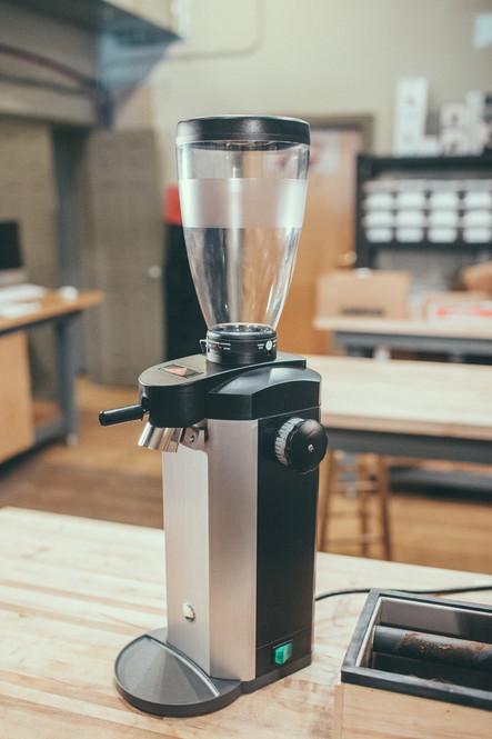 Mahlkonig Side View Tanzania Retail Coffee Grinder Onsite