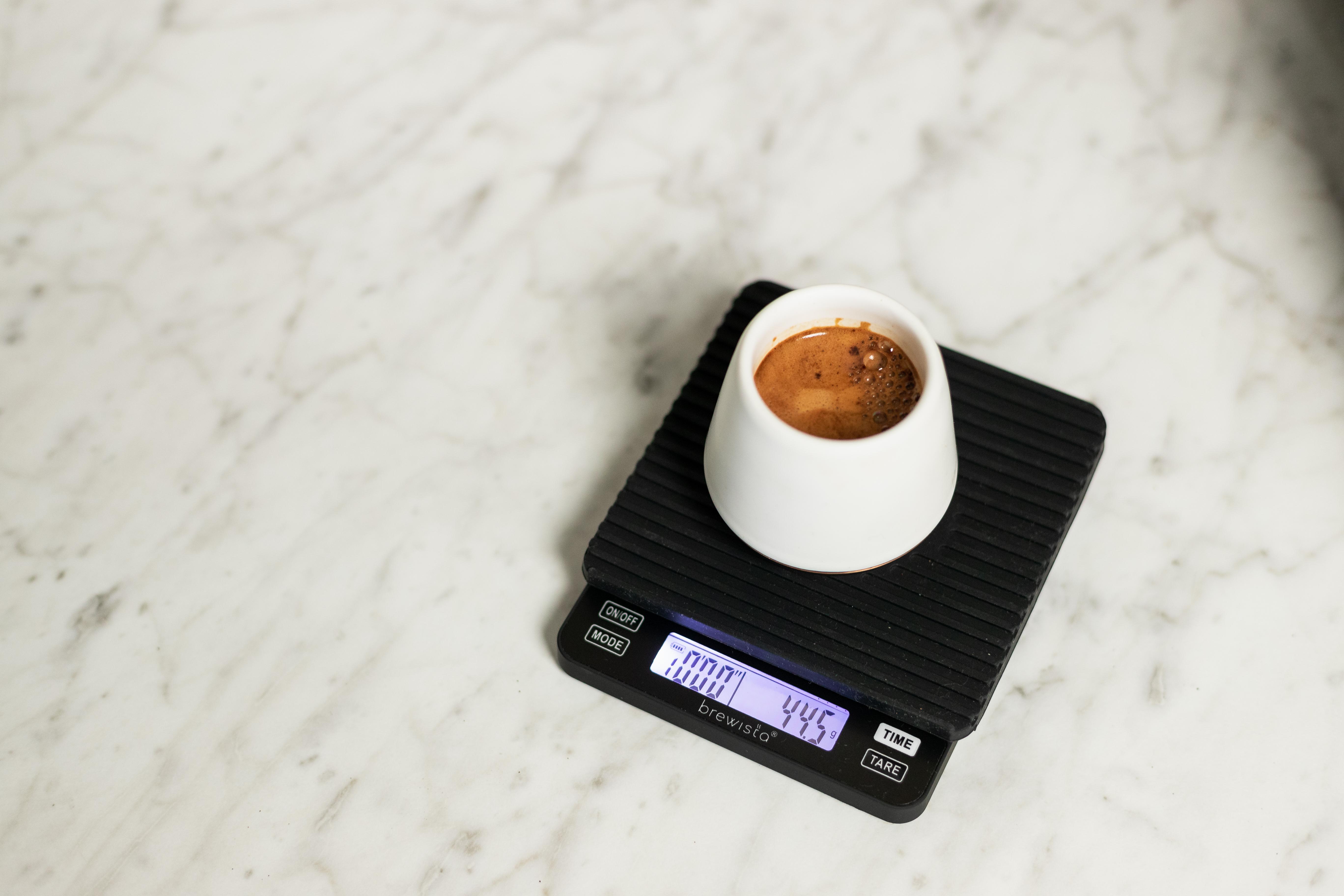 Brewista Smart Scale II weighing an espresso demitasse
