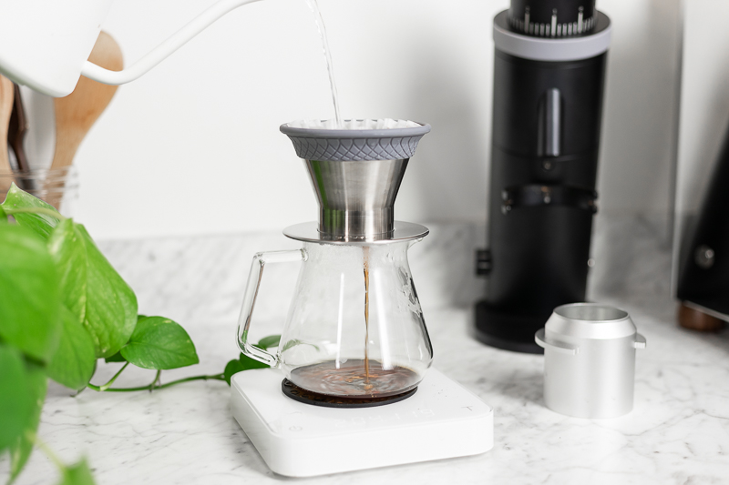 Espro BLOOM brewing coffee