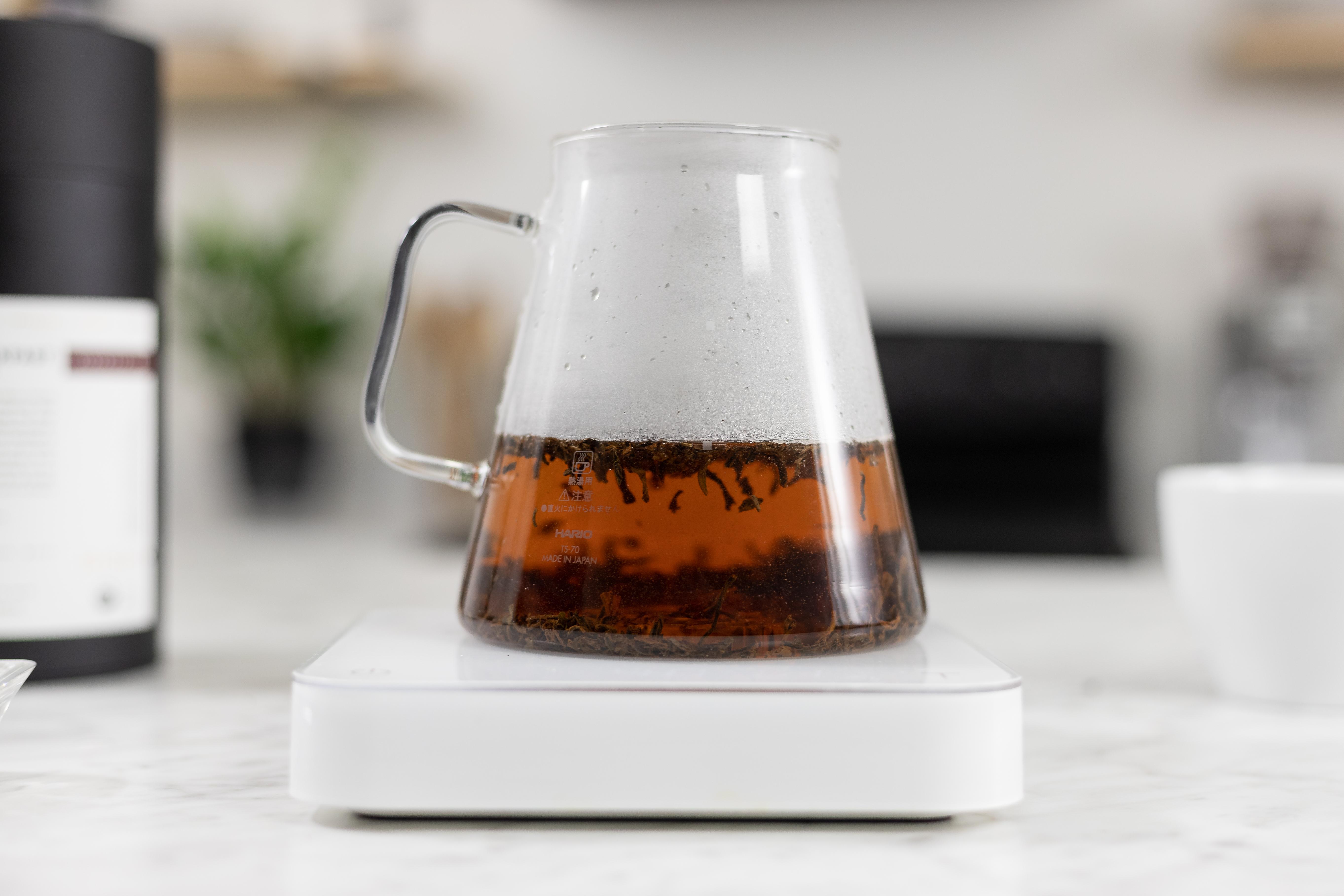 Hario Clear Teapot steeping tea leaves