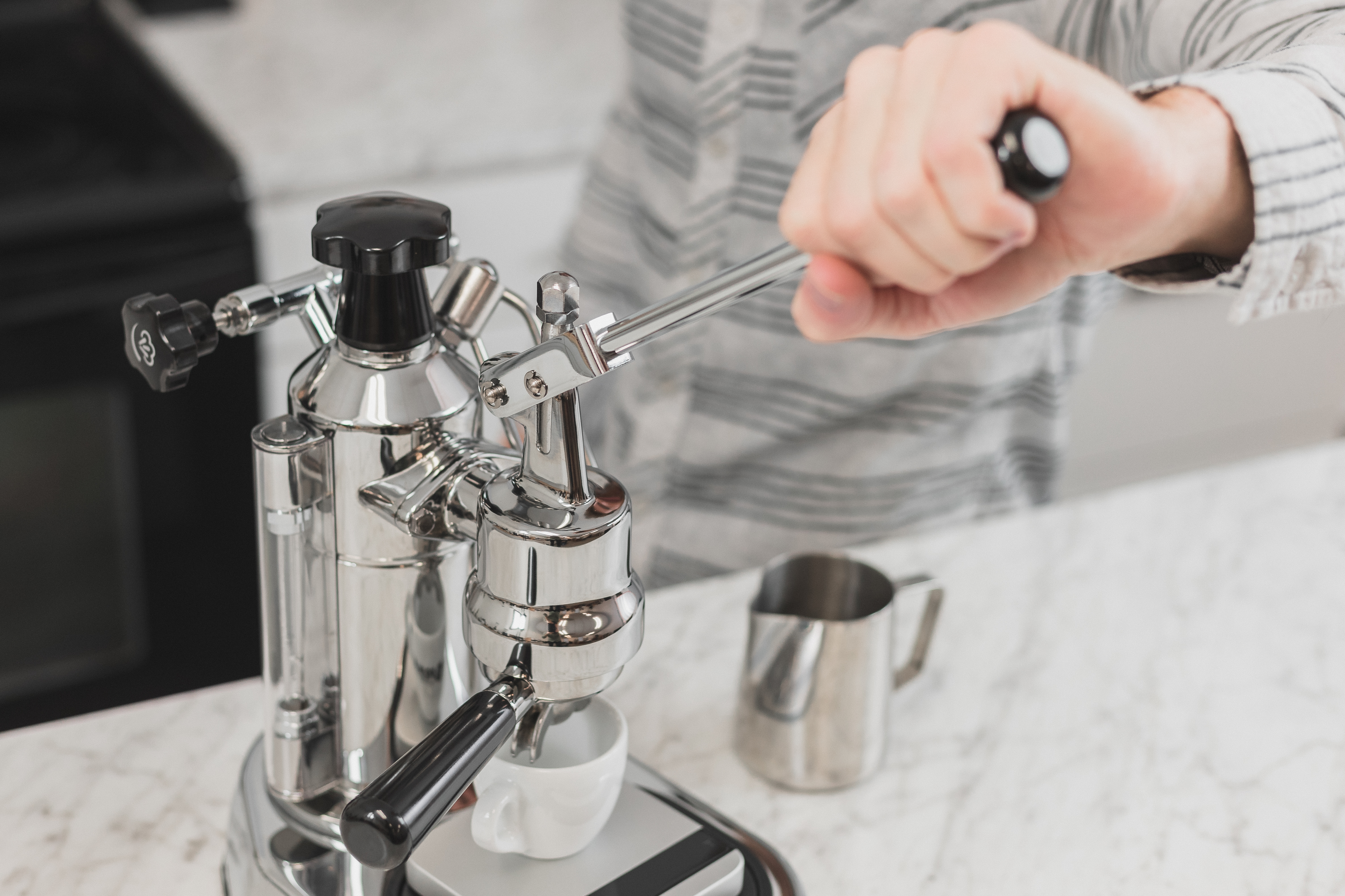Lever being pulled on La Pavoni EPC-8