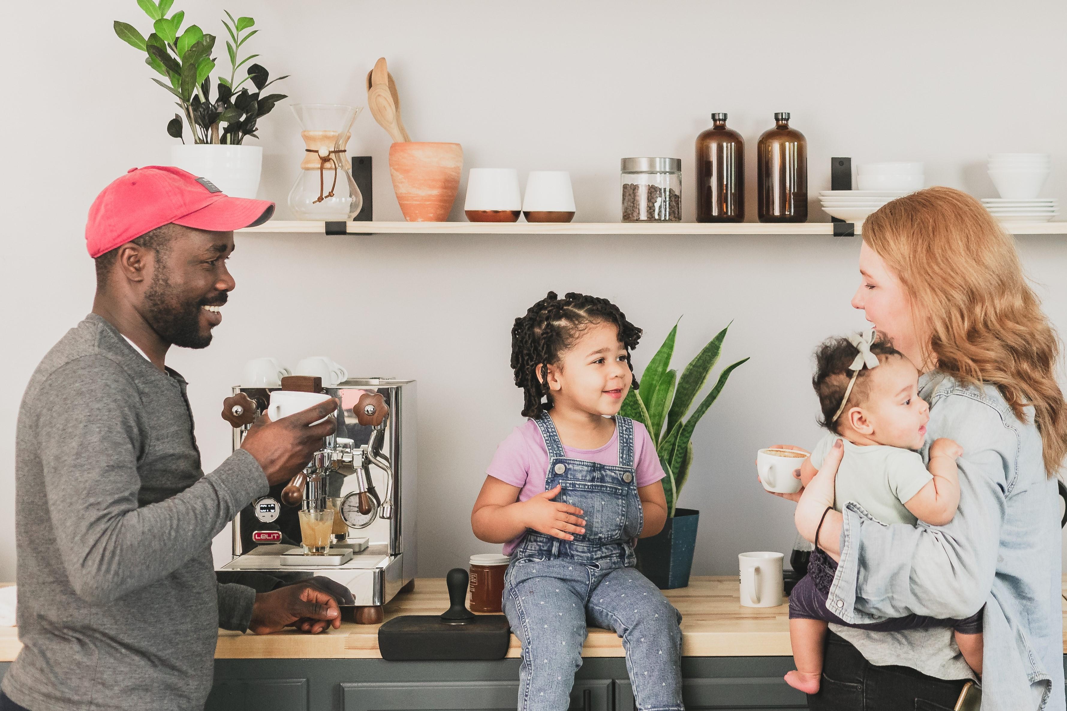 a family making espresso