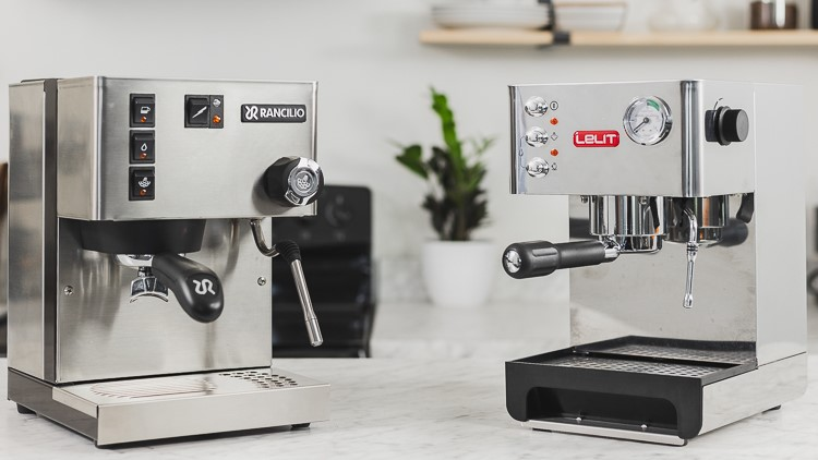 Lelit Anna and Rancilio Silvia espresso machines on a counter