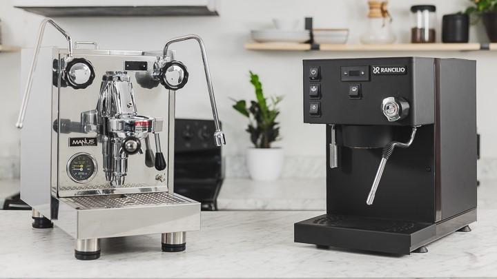 El Rocio Manus and Rancilio Silvia Pro espresso machines on a counter