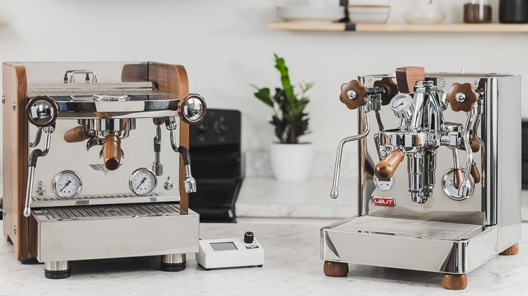 El Rocio Zarre and Lelit Bianca espresso machines on a counter