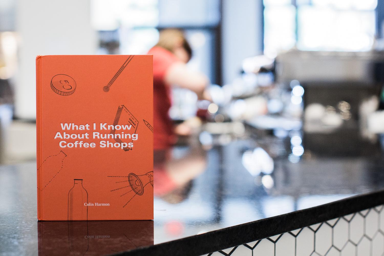 Book on the counter at a café