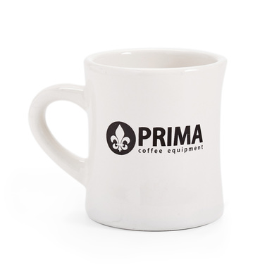 white mug with Prima logo