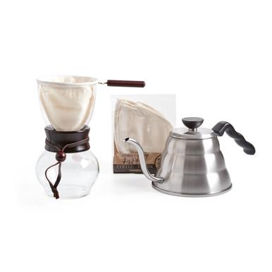 Hario Woodneck Pour Cover Coffee Drip Pot, Hario cloth Filter, Hario V60 Buono Kettle