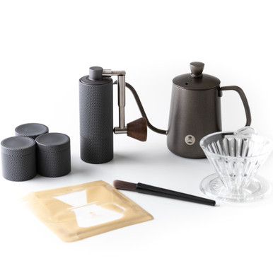 Timemore NANO Scale, V60, kettle, filters, brush, and bean holder