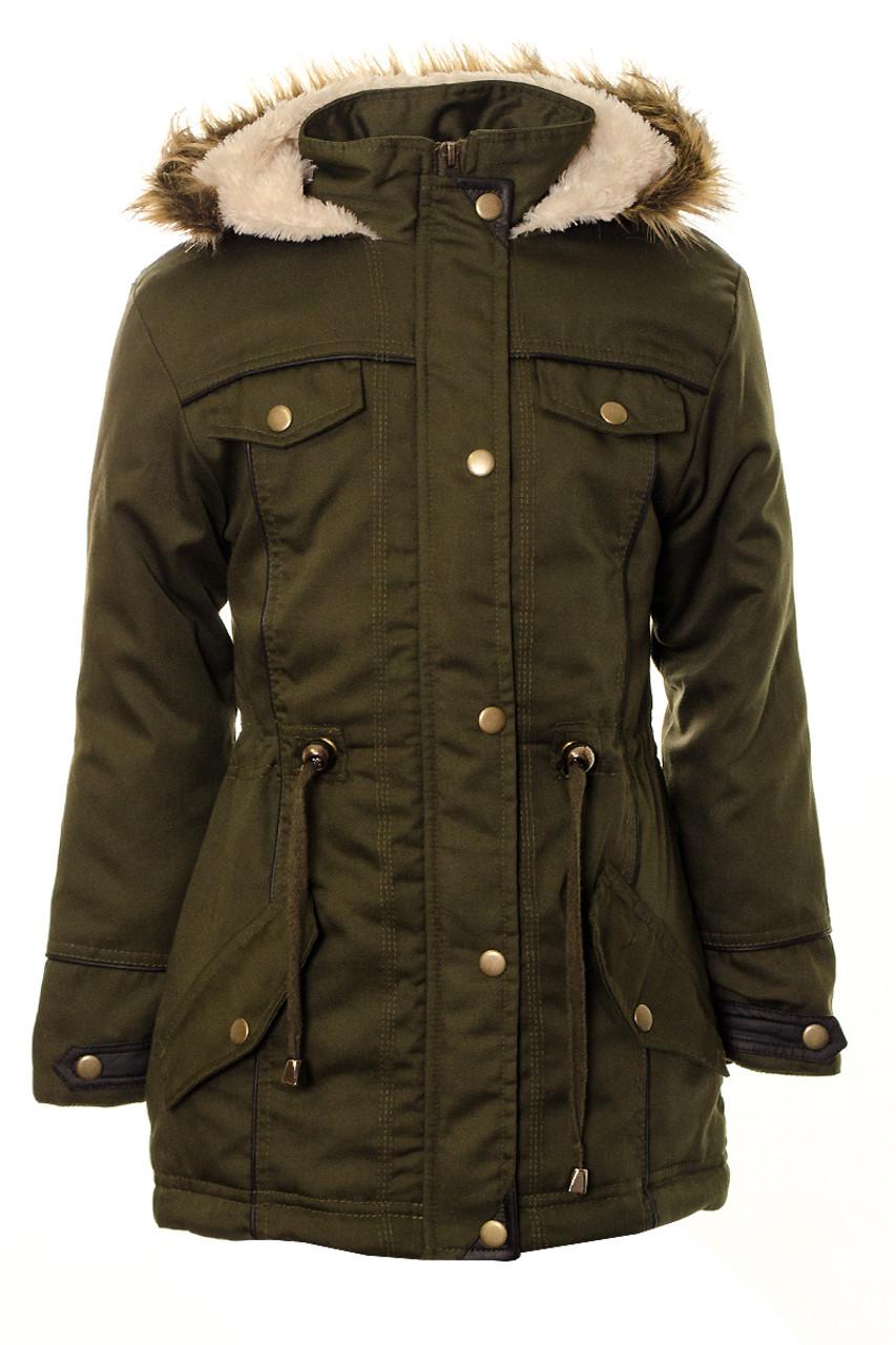 UK Women Fleece Faux Fur Parka Coat Hooded Jacket With Belt Size 8 10 12
