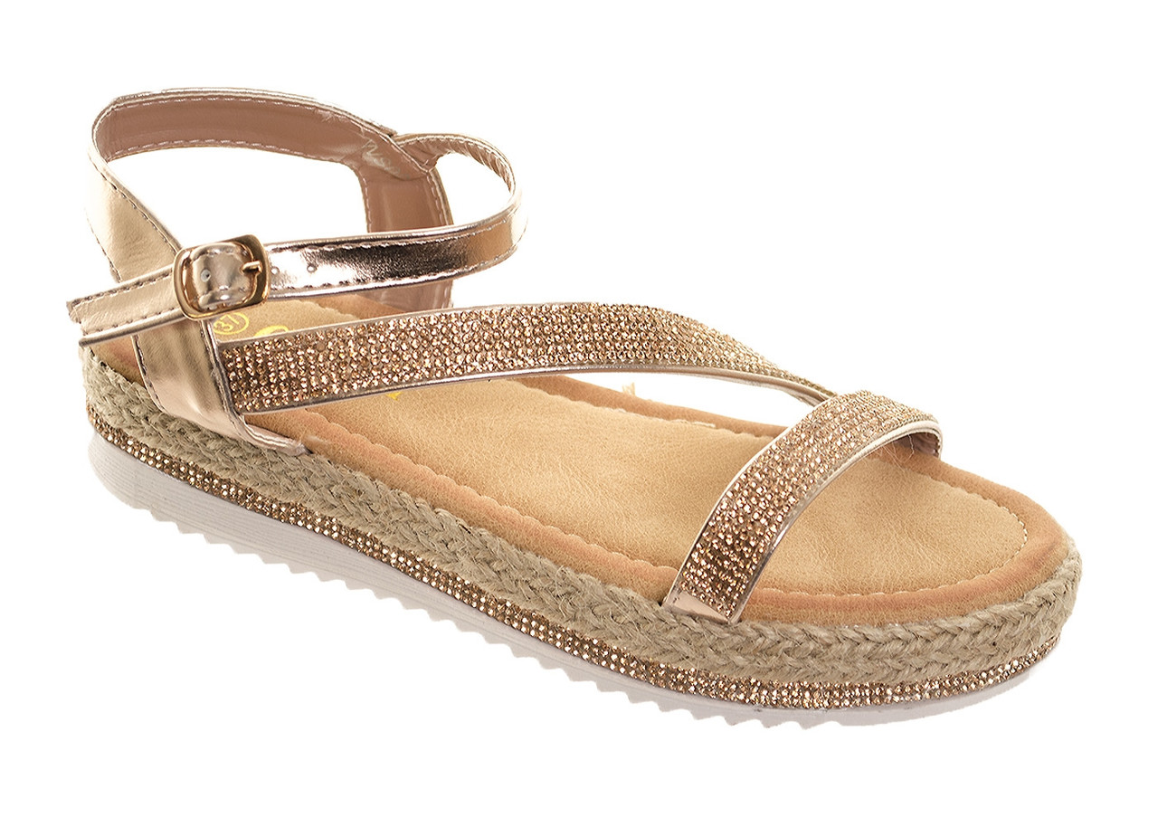 Women's Diamante Sparkly Strappy Flat Sandals Ladies Comfy Occasion Summer Party