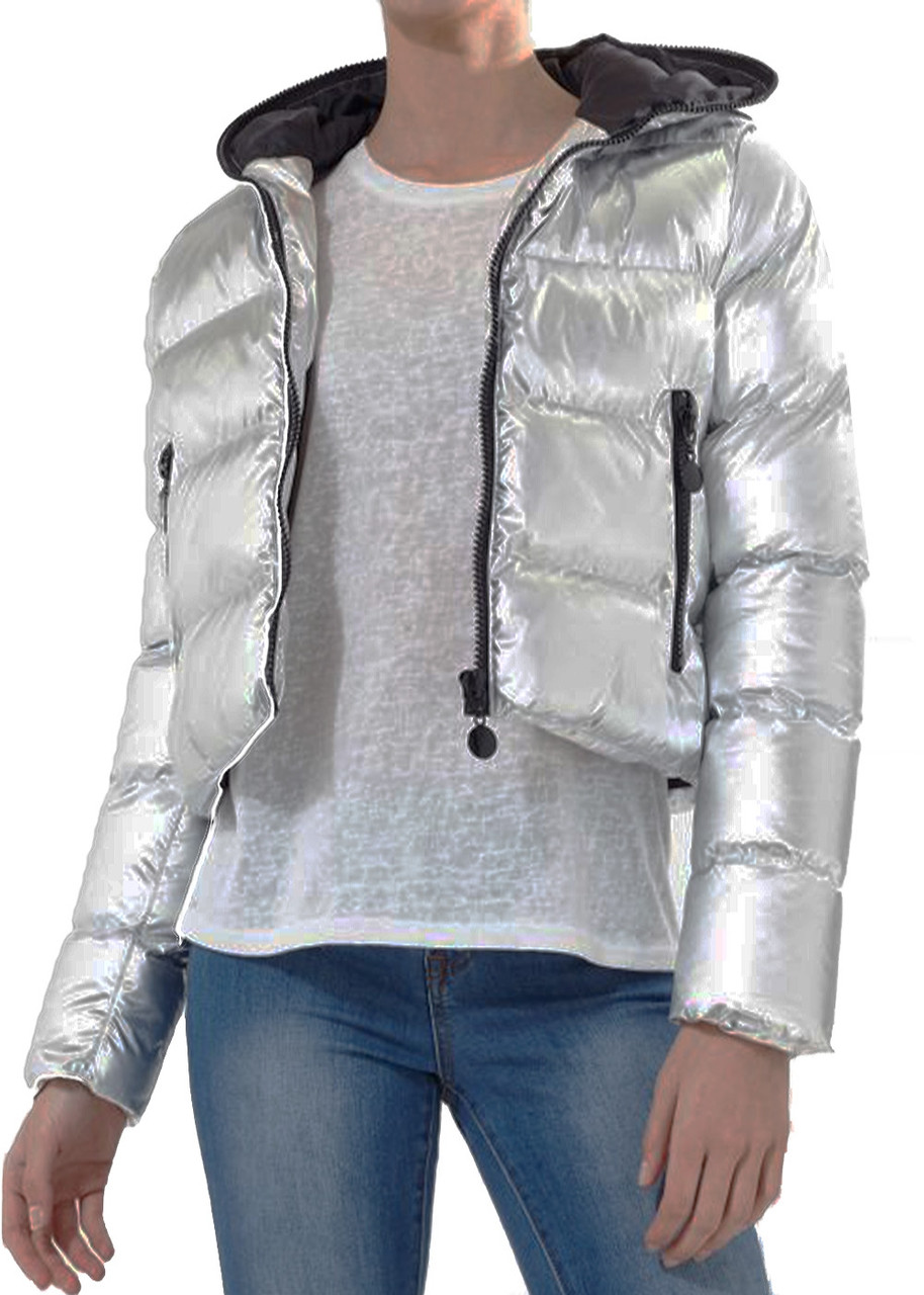 2a8c90cb5 Women's Silver Matallic Cropped Puffer Padded Bomber Jacket Ladies Coat  Quilted Hooded
