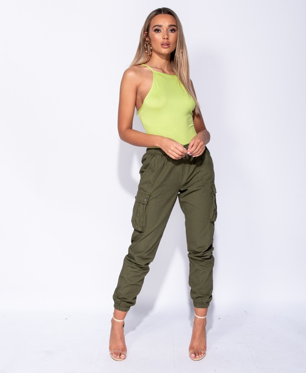online retailer hot sale online official images Women's Combat Pants Elasticated Waist Cargo Trouser Khaki ONLY AT ...