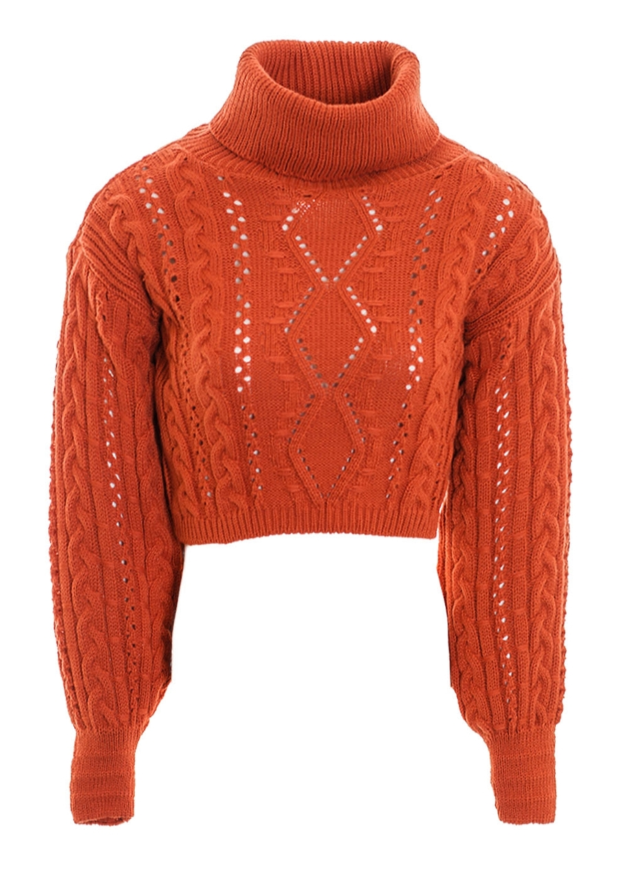 37870b837a9 Women's Soft Warm Chunky Cable Knitted Cropped Turtle Polo Neck Jumper  Ladies Winter Knitwear Rust