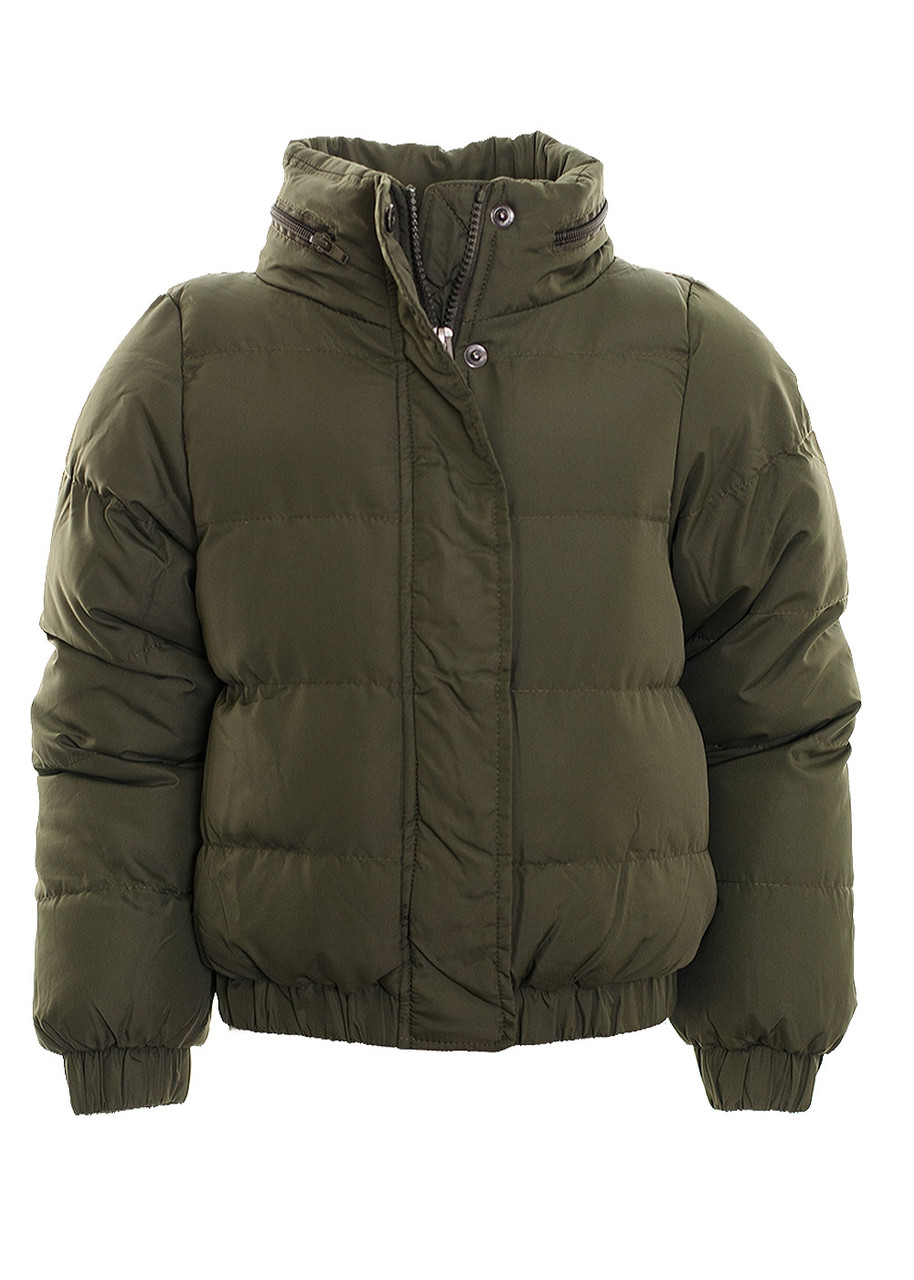 1937874ff0 Kid's Hooded Puffer Quilted Padded Bomber Jacket School Parka Coat Khaki  Age 7- 13