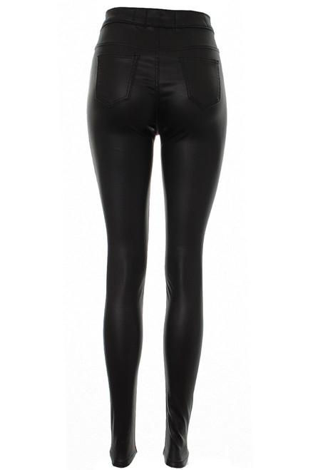 Womens Slim Fit Jean Skinny PU Jeans Size 6 8 10 12 14 New Black wet look