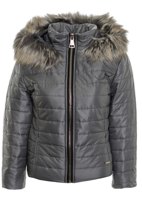 many styles online retailer entire collection Women's Faux Fur Collar Puffer Quilted Ladies Padded Warm Winter Coat  Jacket Grey