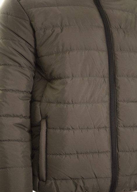 Men's Quilted Jacket Padded Puffer Bomber Funnel Neck Jacket Coat S,M,L,XL