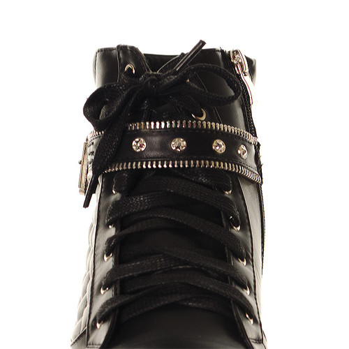 Women's Black White Quilted Buckle Strap Wedge High Tops Trainer Boots 3 4 5 6 7