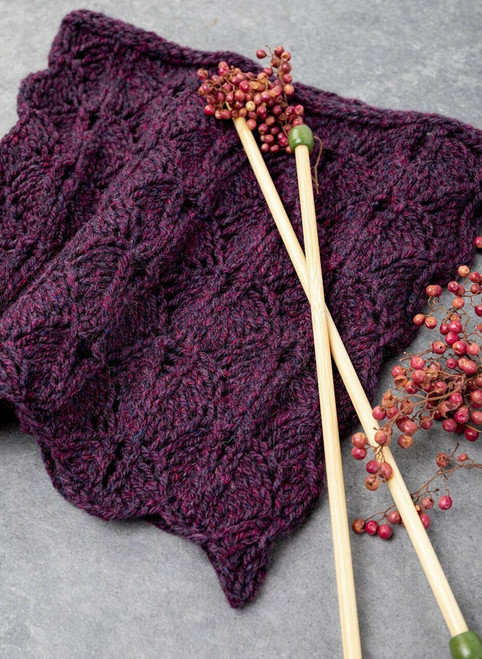 Aileen Lace Leaf Cowl Yarn Vibes 100% Organic Knit Kit