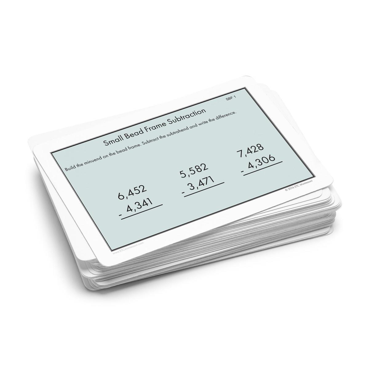 Small Bead Frame Subtraction Task Cards Level 3 6 Etc Montessori