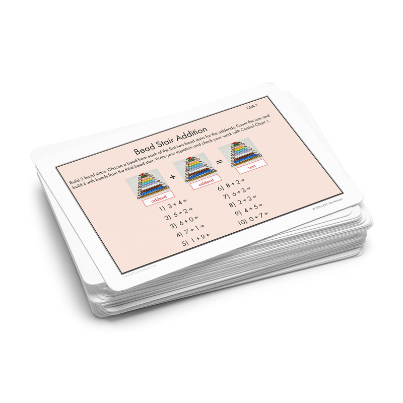 Bead Stair Addition Task Cards.  Level 3-6
