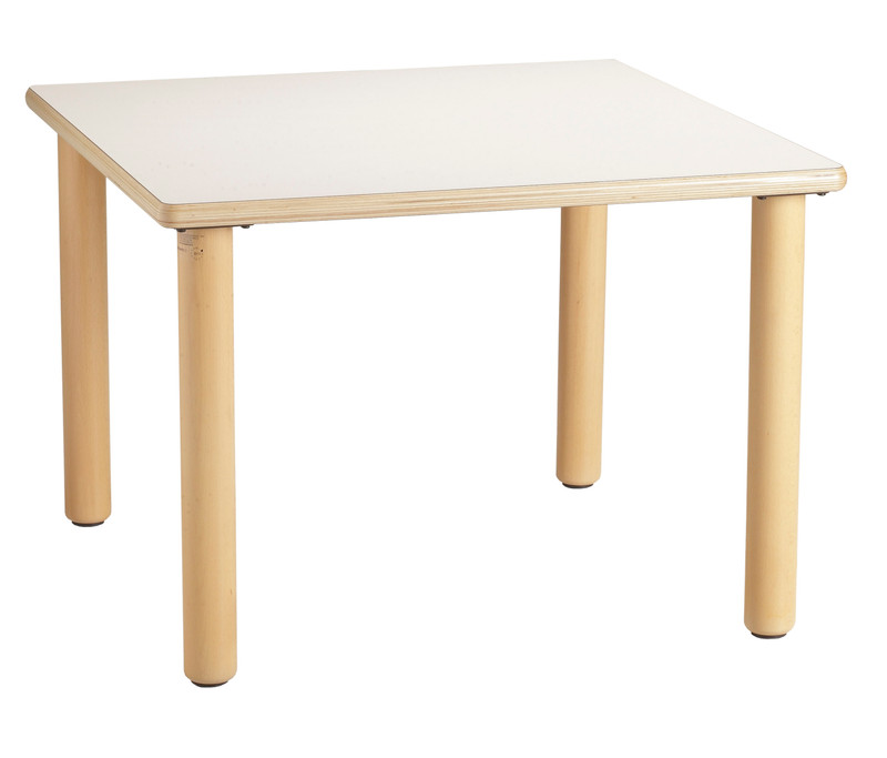 Item: GA0240002.  (64x64x53h cm) Square table  Our table legs are made of solid beech and are fixed directly to the underside of the tabletop to avoid encumbrances. The tables have different forms but are of the same height and accessible on all sides to facilitate the most diverse activities. Edges are rounded and bolts are and non-protruding. The chairs perfectly match the tables in height and are available in wood and plastic with a metal frame.
