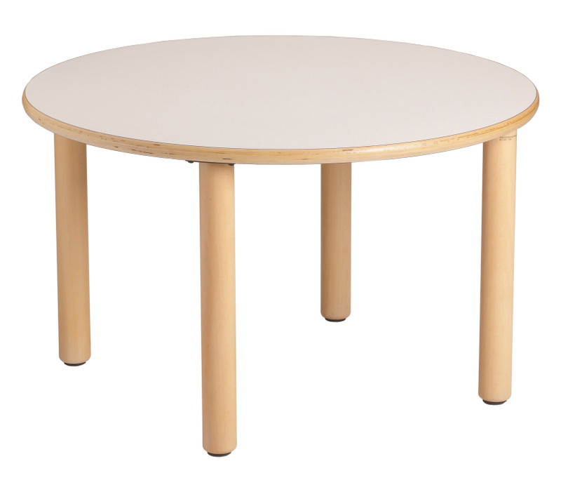 Item: GA0242802. (ø 90x53h cm) Circular table  Our table legs are made of solid beech and are fixed directly to the underside of the tabletop to avoid encumbrances. The tables have different forms but are of the same height and accessible on all sides to facilitate the most diverse activities. Edges are rounded and bolts are and non-protruding. The chairs perfectly match the tables in height and are available in wood and plastic with a metal frame.
