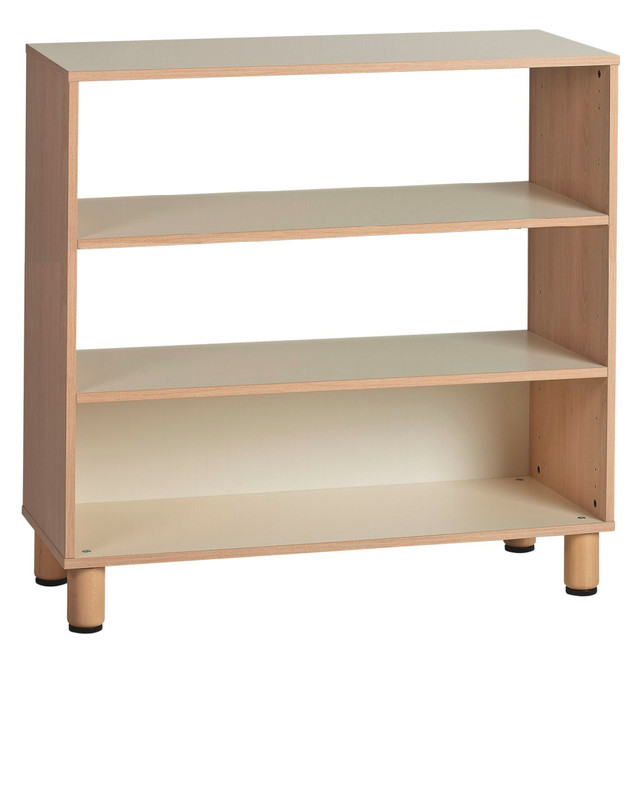 Item: GA0252101. (105x41x100h cm) Half open cabinet  Clean lines and light colors to respond to the needs of pedagogy today with modern and minimal design. Our shelves feature edges in bleached oak, frame-flush doors where needed, and open shelves, with minimal handles.