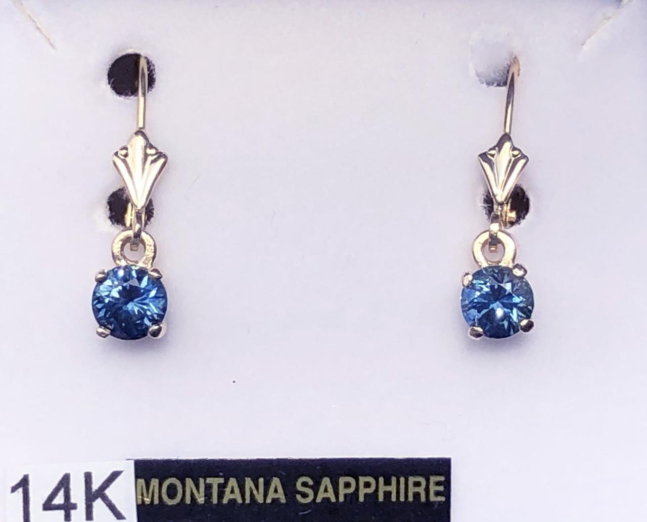 Blue Sapphire Pear Shape Bezel Set Drop Dangle 14K Yellow White Gold Earrings