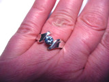 5mm Sterling Silver Montana Sapphire H ring on the hand