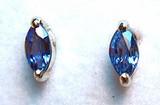 Montana Yogo sapphire marquise earrings 2 prong 4x2mm (.20 ct total)