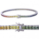 Rainbow Sapphire Multi Color Bracelet 14K white gold and sterling silver clasp