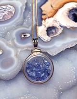 Yogo Sapphire Locket Pendant Gold Filled