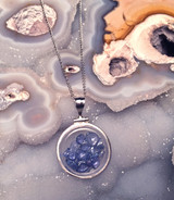 Yogo Sapphire Locket Pendant Sterling Silver
