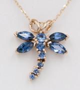 Montana Yogo Sapphire 14K Yellow Gold Dragonfly Pendant - Please inquire