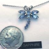 Montana Yogo Sapphire 14K White Gold Dragonfly Pendant
