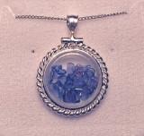 Montana Yogo Sapphire Locket Pendant Rope Edge 925 Sterling Silver
