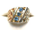 Montana Sapphire Mens Gents Nugget Gold Ring