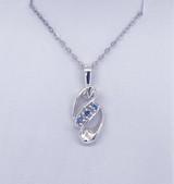 #32 -  Montana Yogo Sapphire 3 Stone Swirl Sterling Silver Pendant