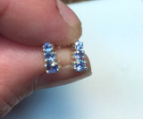 Montana Yogo Sapphire 3 Stone Earrings Sterling Silver