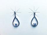 Montana Yogo Sapphire Round in Pear Shape Post Earrings Sterling Silver