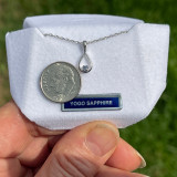 Montana Yogo Sapphire Round in Pear Shape Pendant Necklace Sterling Silver