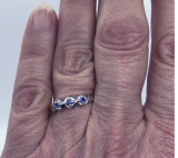 #96 - Montana Yogo Sapphire 3 Stone 14K Gold Ring