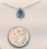 Montana Yogo Sapphire Pear Halo Pendant 14K White Gold