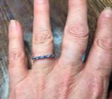 Montana Yogo Sapphire Baguette Round Band Ring 14K White Gold